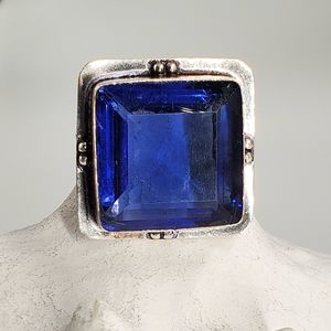 Handmade Silver Ring Large Blue Quartz Stone